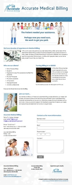Accurate Medical Billing snapshot website